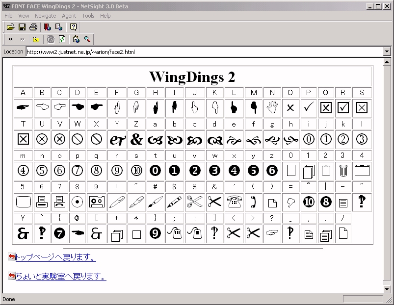 Wingdings Character Map | My Blog